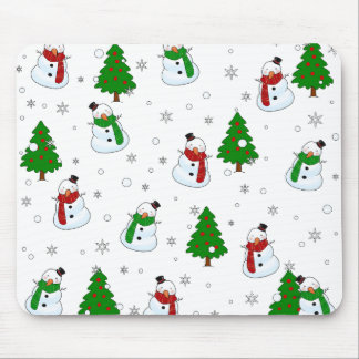 Snowman pattern mouse pad