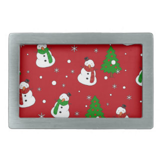 Snowman pattern rectangular belt buckle
