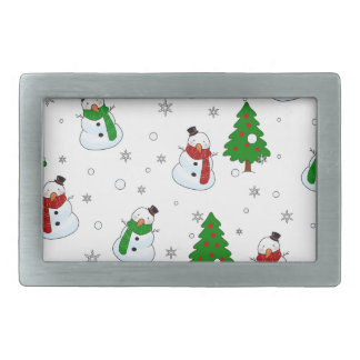 Snowman pattern rectangular belt buckles