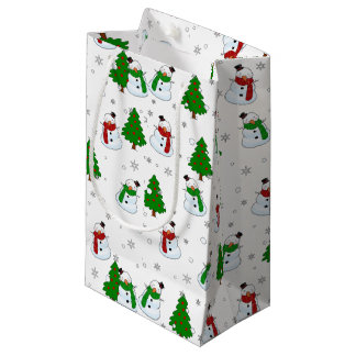 Snowman pattern small gift bag