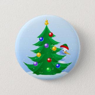 Snowman Peeking 2 Inch Round Button