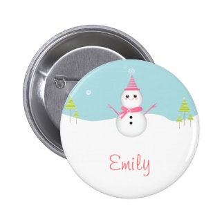 Snowman Personalized Button