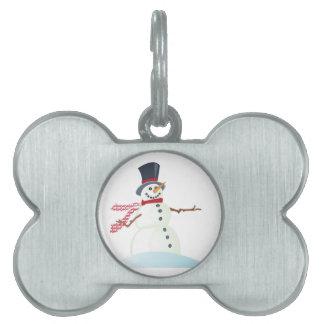 Snowman Pet Name Tag