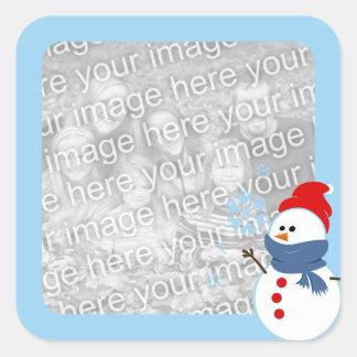 Snowman Photo Square Sticker