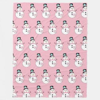 Snowman Pink Christmas Large Fleece Blanket