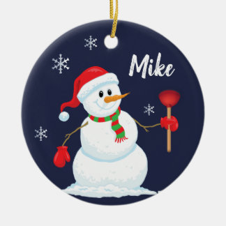 Snowman Plumber Ornament Personalized
