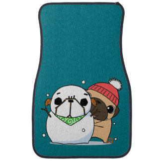 Snowman & Pug rear Car Mat