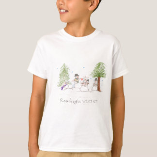 Snowman Reading In Winter T-Shirt