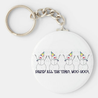 Snowman Ready For A Party! Keychain