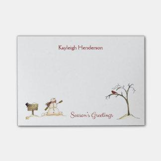 Snowman Red Bird Tree Winter Monogram Post-it Notes
