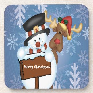 Snowman & Reindeer Customizable Drink Coasters