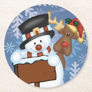 Snowman & Reindeer Round Paper Coaster