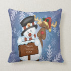Snowman & Reindeer Throw Pillow