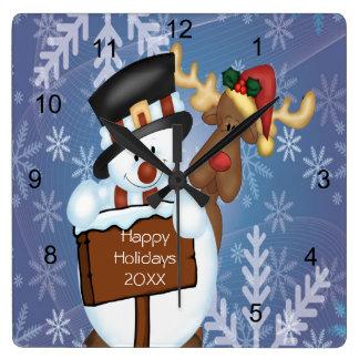 Snowman & Reindeer Wallclock