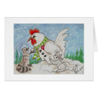 Snowman Rooster,  Raccoon and Bunny Friends Card