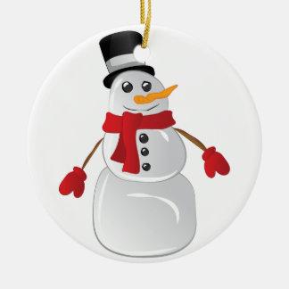 Snowman Round Ceramic Ornament
