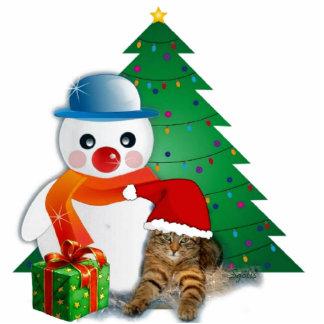 Snowman & Santa Cat Christmas  Photo Sculpture