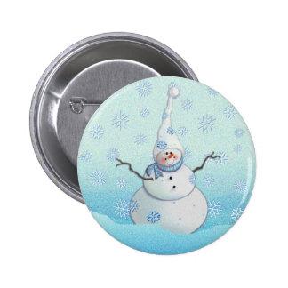 SNOWMAN, SCARF & SNOW HAT by SHARON SHARPE 2 Inch Round Button