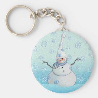 SNOWMAN, SCARF & SNOW HAT by SHARON SHARPE Basic Round Button Keychain