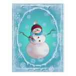 SNOWMAN, SCARF & SNOW HAT by SHARON SHARPE Post Card