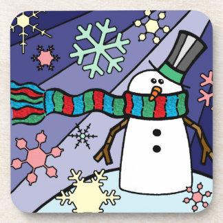 Snowman Scenery Beverage Coasters
