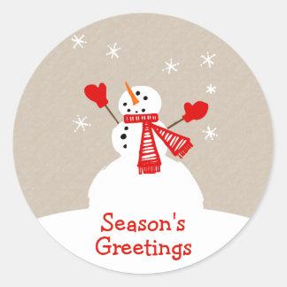 Snowman Season's Greetings Christmas sticker