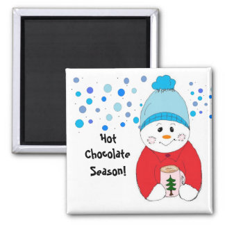 Snowman Sipping Hot Chocolate Magnet