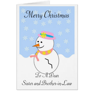 Snowman Sister And Brother-In-Law Christmas Card