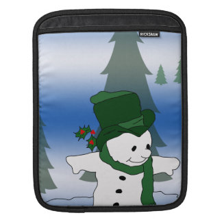 Snowman Skating in Green Sleeves For iPads