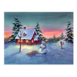 SNOWMAN & SLED by SHARON SHARPE Postcard