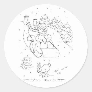 Snowman Sleigh Classic Round Sticker