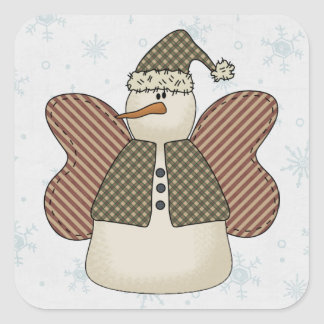 Snowman Snow Angel Square Sticker