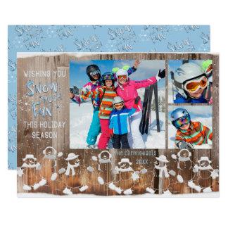 """Snowman """"Snow Much Fun"""" - 3 Photos Card"""