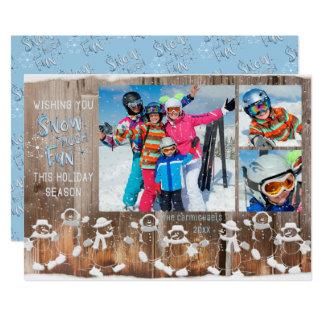 """Snowman """"Snow Much Fun"""" w/ Snowfall Over 3 Photos Card"""