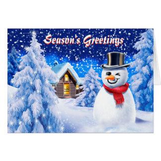 Snowman snow scene cute christmas card