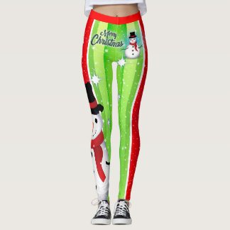 Snowman / Snowflake / Christmas / Green & Red Leggings
