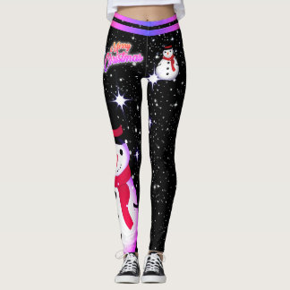 Snowman/Snowflake/Christmas/on Black (or your Col) Leggings
