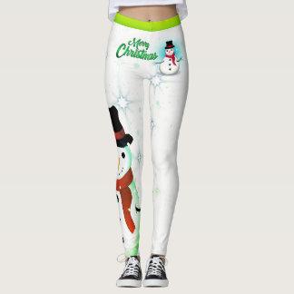 Snowman/Snowflake/Christmas/on White (or your Col) Leggings