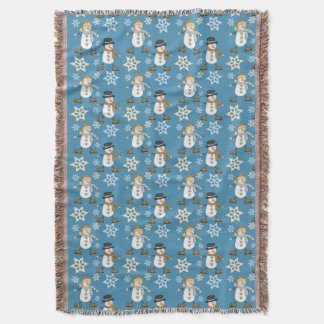 Snowman Snowflake Pattern on Blue Throw Blanket