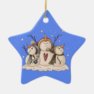 Snowman Snowflake Winter Country Primitive Ceramic Ornament