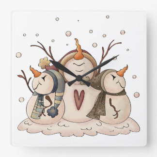 Snowman Snowflake Winter Country Primitive Square Wall Clock