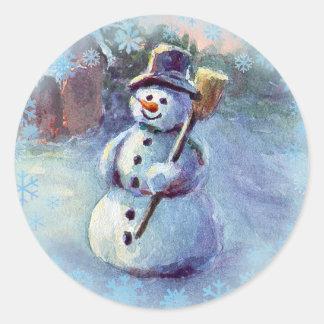 SNOWMAN & SNOWFLAKES by SHARON SHARPE Classic Round Sticker