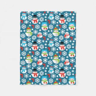 Snowman & Snowflakes Seamless Pattern Fleece Blanket