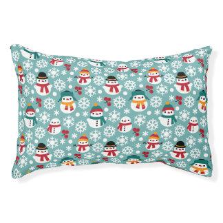 Snowman & Snowflakes Seamless Pattern Pet Bed
