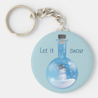 Snowman snowglobe flask keychain