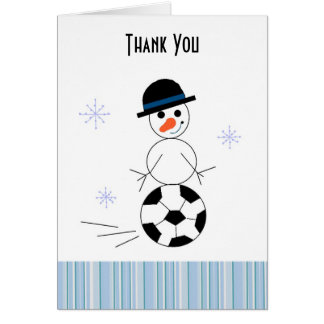 Snowman Soccer Player Thank You Card