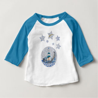 Snowman, sparkly blue stars, gold stars baby T-Shirt