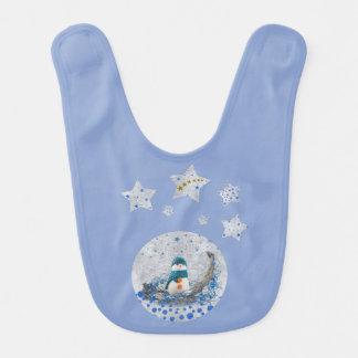 Snowman, sparkly blue stars, gold stars on blue bib