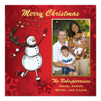 Snowman Stars on Red Photo Holiday Greeting Card