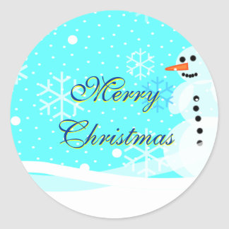 Snowman Sticker Envelope Seal Merry Christmas